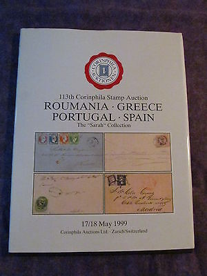 Hardcover 1999 Corinphila Sale 113 ROMANIA - GREECE - PORTUGAL - SPAIN Catalogue