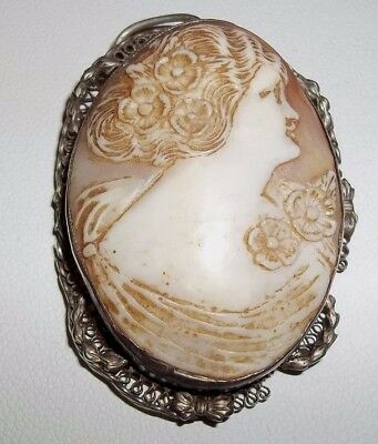 Vintage / Antique Victorian Oval Carved Shell Cameo Pendant Silver Filigree
