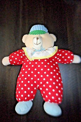 VTG EDEN TEDDY BEAR Red White Polka Dot Stripe Hat Clown Doll Stuffed Plush 12""