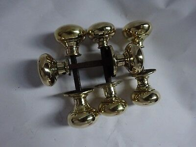 One (1) Vintage Pair Of Heavy Brass Door Knobs Handles For Rim Lock - Reclaimed