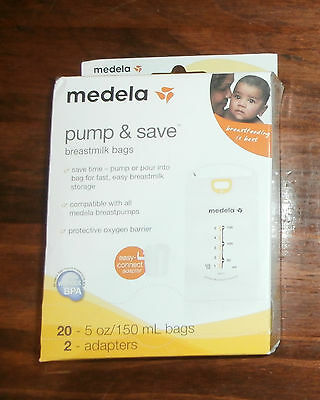 New sealed box Medela Pump & Save Breastmilk Bags 20 Count 2 Adapters 87233