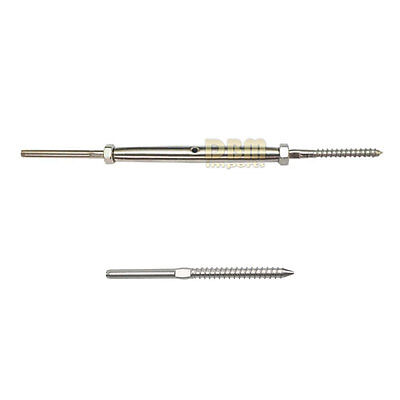 """1/8"""" Lag Stud Swage and Swage Tensioner w Lag Screw Combo Stainless Steel 316"""