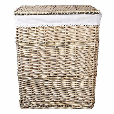Two Sizes Available Rectangle Wicker Laundry Basket Cotton Lining With Lid