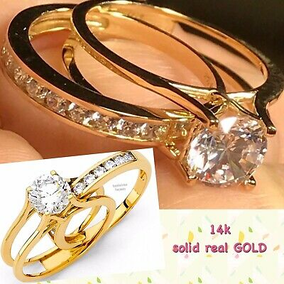 14k GOLD Ring Band Duo Set Engagement Wedding Semi Eternity 2 pc round 7 5 6 8 9