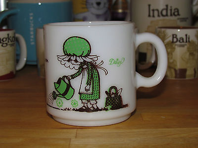 HOLLY HOBBIE White MILK Glass Cup 'Sprinkle With Kindness & Friendship Will Grow