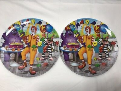 "Set of 2 2003 McDonald's Collectible 9.5"" Plastic Plates Birthday Cake Ronald"
