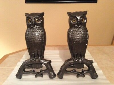 Antique Cast Iron Owl Andirons with insert Glass Eyes