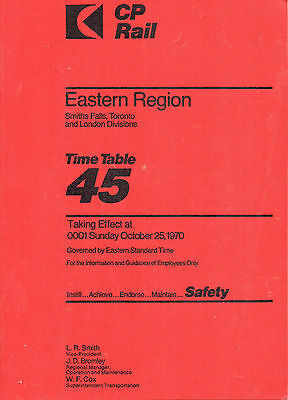 CP RAIL TIME TABLE 45 October 1970 Eastern Region Smiths Falls, Toronto & London