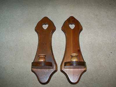 "Home Interior Wood Candle Sconces - Set of 2 - 15"" Hearts"