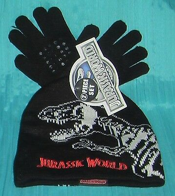 Jurassic World New Boys Outerwear Hat & Glove Set Black Red White