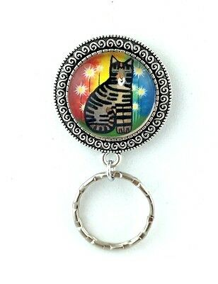 Colorful Tabby Cat Badge Eyeglass Holder, Magnetic Pin Brooch, Design #1