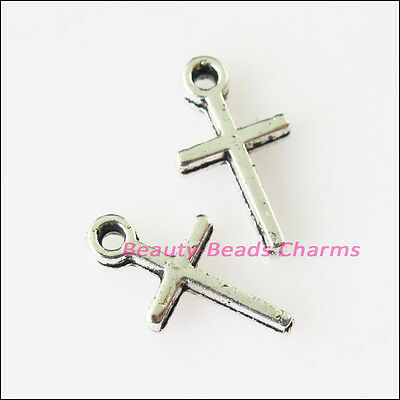 70Pcs Antiqued Silver Tone Tiny Smooth Cross Charms Pendants 7x13mm