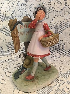 """Norman Rockwell Vintage '70's """"No Swimming"""" Ceramic Figurine, by Gorham, Japan"""