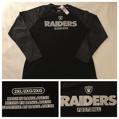 Oakland LA Raiders NFL Men s XXL 2XL Dry Wick Performance Logo Black Shirt  NWT 0402903076a
