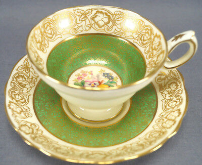 Set of 6 Hammersley 239611 Dresen Floral Gold Floral Chintz & Green Tea Cups
