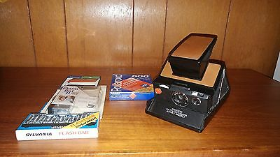 Vintage Polaroid SX-70 Alpha 1 Model 2 With Rare Leather Case and Accessories