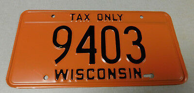 1980's Wisconsin tax only license plate
