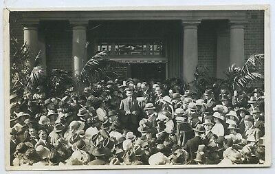 1919 Rp Postcard Celebrations Unveiling Winged Victory Statue Marrickville S16
