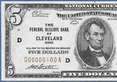 """1929 $5 Frbn """"cleveland""""  W/low S/n ♚♚D00000400A♚♚  Unc++      Very Bright&crisp"""