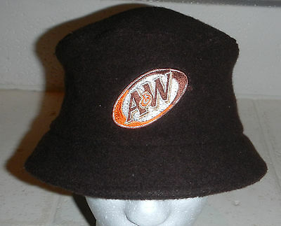 Vintage Unique A&W Root Beer Restaurant Soda Logo Brown Bucket Fishing Hat Cap