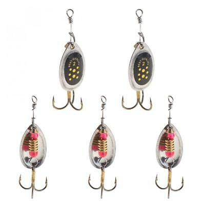 Lot 5pcs Metal Fishing Lures Spinner Spoon Hard Lure CrankBait with Treble Hooks