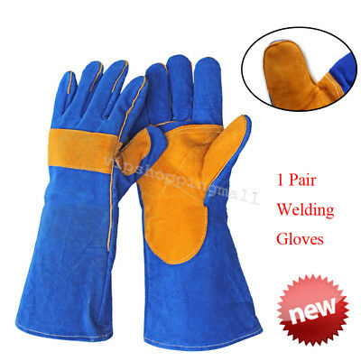 Heat-Resistant Men's CushionCore Cowhide TIG MIG Welding Gloves 40cm/15.75inch
