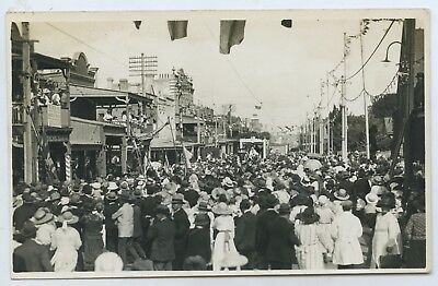 1919 Rp Postcard Celebrations Unveiling Winged Victory Statue Marrickville S17