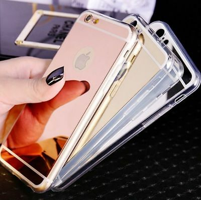 Luxury Ultra-thin Soft Silicone TPU Mirror Case Cover For iPhone 8 X 7 6 Plus SE
