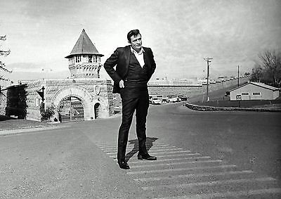 Johnny Cash Folsom Prison PHOTO Standing in front State Prison, Publicity Photo
