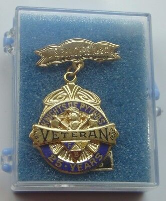 Vintage 25 Year Veteran FCB Knights of Pythias Gold Filled Medal