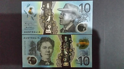 """AUSTRALIA""NEW$10 Dollar""ND2017 Lowe/Fraser x2""UNC""CONSECUTIVE NUMBER""Banknotes"""