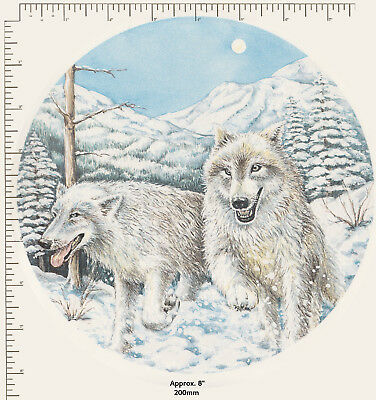 """1 x Large Ceramic decal Decoupage Round Plate White snow wolves Animals 8"""" P67"""