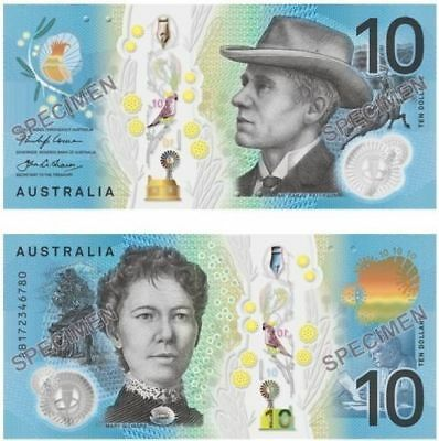 """2 AUSTRALIA NEW $10 Dollar2017""Lowe/Fraser""GEM UNC""CONSECUTIVE NUMBER""Banknotes"