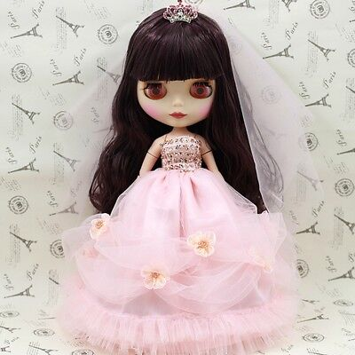 "For 12"" Neo Blythe doll Takara doll Fashion Pink Wedding Dress/clothing"