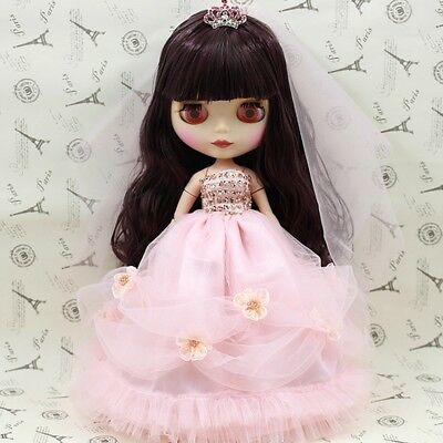 "[JB] Suitable For 12"" Neo Blythe Doll Takara Doll Fashion Pink Wedding Dress /"
