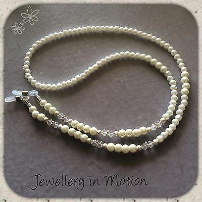 Glass White pearl and Clear Crystal Eyeglass Spectacle Chain