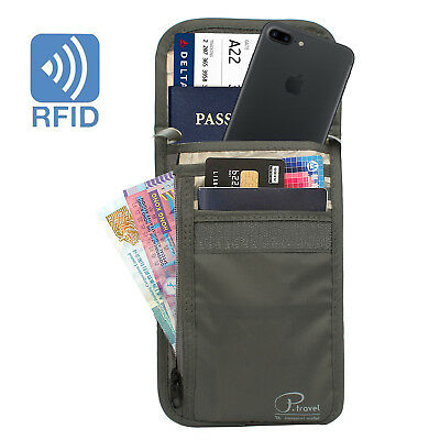 [Multi-Card-Slots] Travel Neck Pouch Passport Holder RFID Blocking Orgainzer BAG
