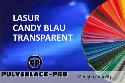 PULVERLACK  LASUR CANDY BLAU TRANSPARENT 1KG BESCHICHTUNGSPULVER Powder Coating