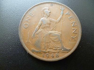 1948 One Penny Coin King George The Sixth, Bronze, Fair Used Condition.