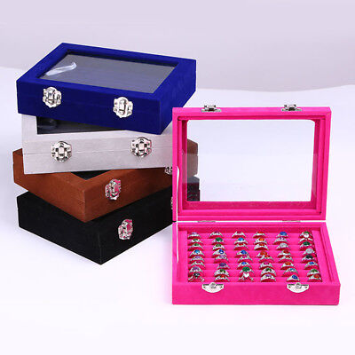 Jewelry Ring Organizer Tray Holder,Earring Storage Case Display Box Velvet Glass