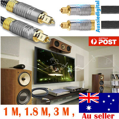 NewUltra Premium Toslink Optical Fibre Cable Gold Plated 5.1 7.1 Digital Audio