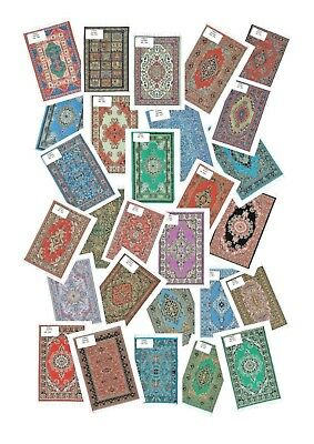 Dolls House Rug / Mat /Carpet 1/12 Scale Turkish Miniature,Gold Thread-28 Patts