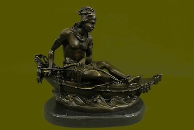 Native American Indian Artwork Nude Male Warrior Canoe Marble  Sculpture BB