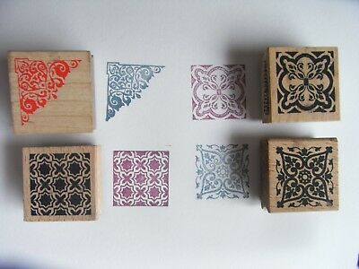 4 x Moroccan Style Pattern Square Wooden Backed Stamps - Craft / Card making etc