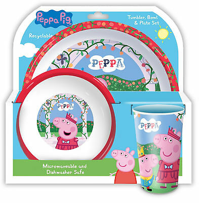 Peppa Pig Tumbler Bowl and Plate Set Perfect Gift For Peppa Pig Fans