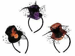 Hairband Black Hat With Net Halloween 3 Asstd Design
