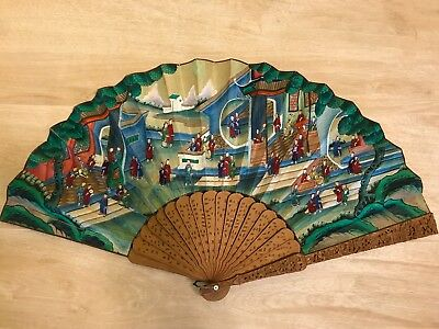 Rare antique China Hand Carved Sandalwood Brise Fan with applied faces
