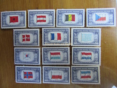 EBS USA World War II WW2 Overrun Countries Flags set MNH**