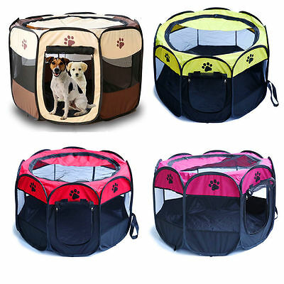 New Foldable Pet Dog Cat Playpen Tent Portable Exercise Fence Kennel Cage Crate