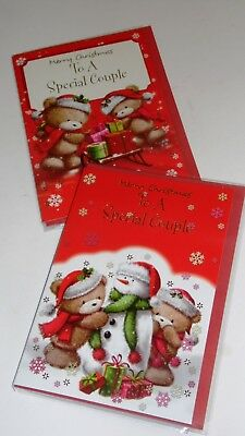 "SPECIAL COUPLE CHRISTMAS CARDS x12, just 27p! FOILED, 5"" X 7"" (B347"